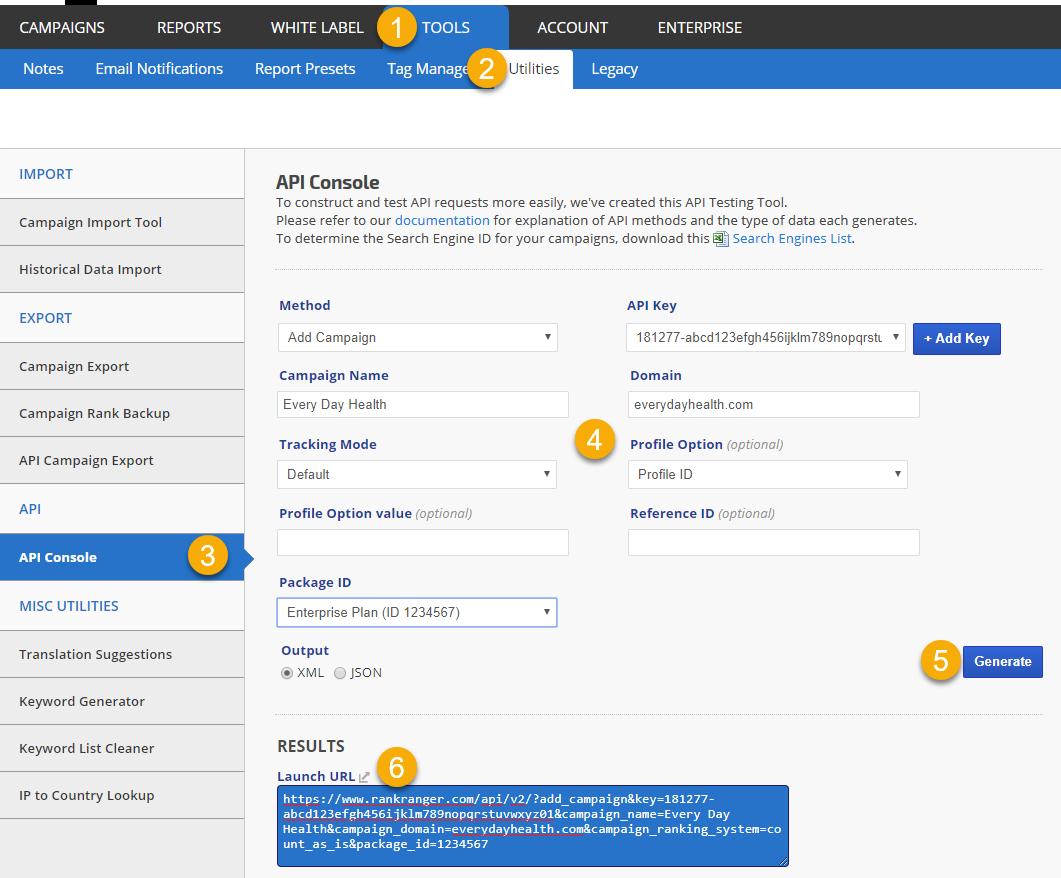 Rank Ranger API Testing Tool