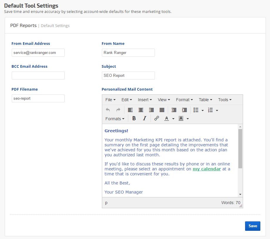 PDF Report default settings