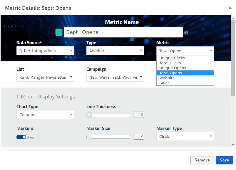 AWeber Insight Graph settings