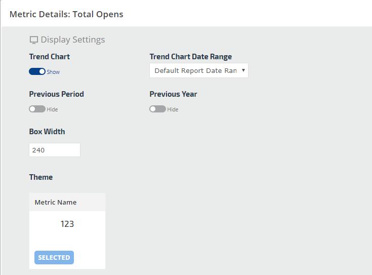 metric widget display options