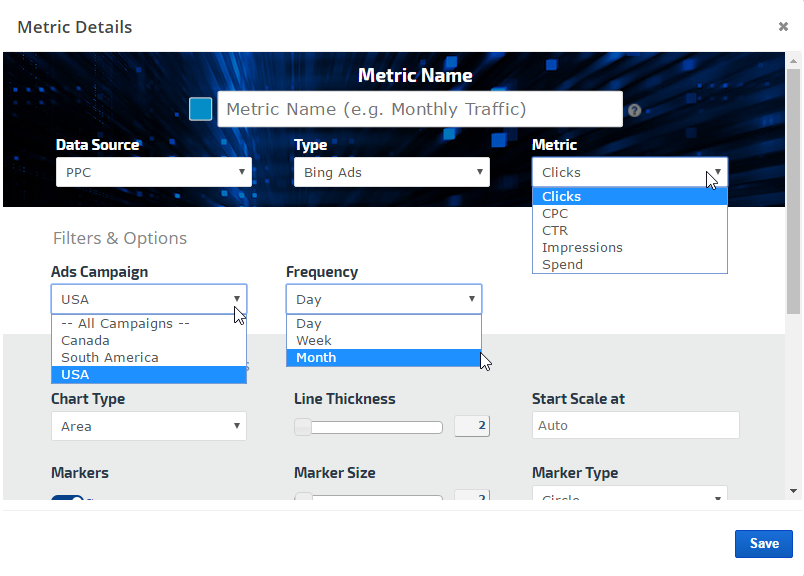 Bing Ads metrics graph settings