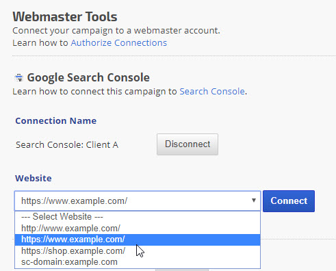 Campaign Settings > Webmaster Tools