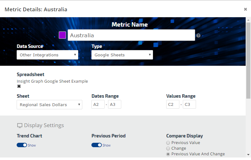Add data from Google Sheets to Metric Widgets