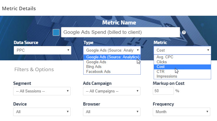 Google Adwords metrics graph settings