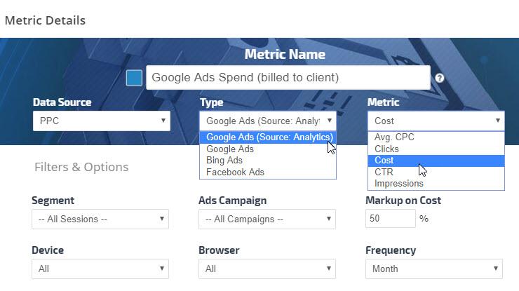 Google Adwords metrics graph settings