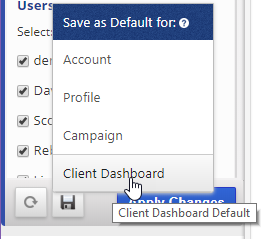 client dashboard default